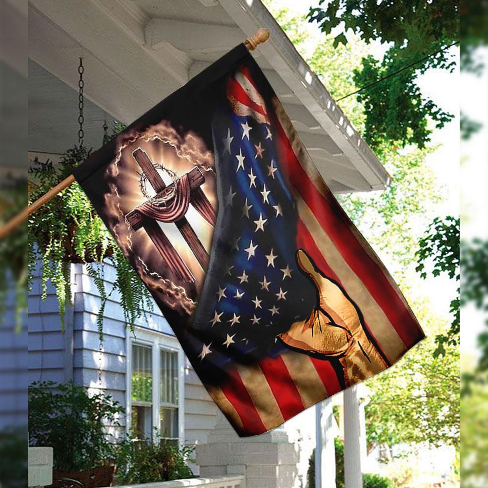 God Bless America Flag QNK01F House Flag Garden Flag Jesus American Flag